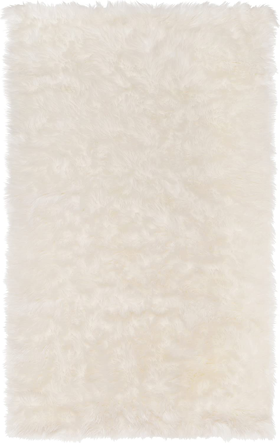 SLPR High Pile Rectangular Faux Sheepskin Rug (3' x 5', White) | Super Area Rug Soft Fur Accent for Chair Bedroom Living Room Cottage Cabin