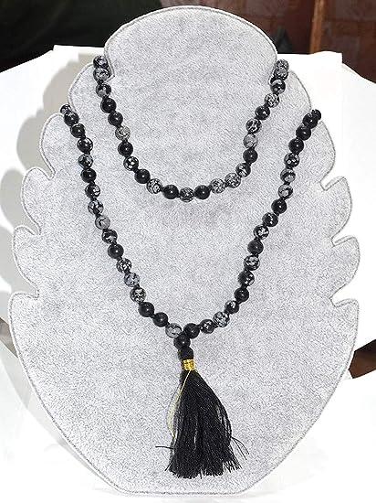 Black Snowflake Obsidian Mala Necklace \u2022 Aquamarine Mala \u2022 Reiki Necklace \u2022 Knotted Mala \u2022 Moon Necklace \u2022 Yoga Jewelry \u2022 Chakra Necklace