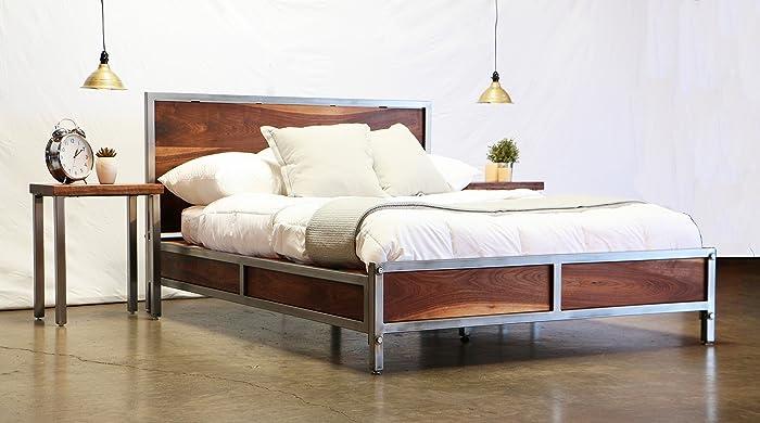 Amazon.com: Walnut Industrial Platform Bed: Handmade