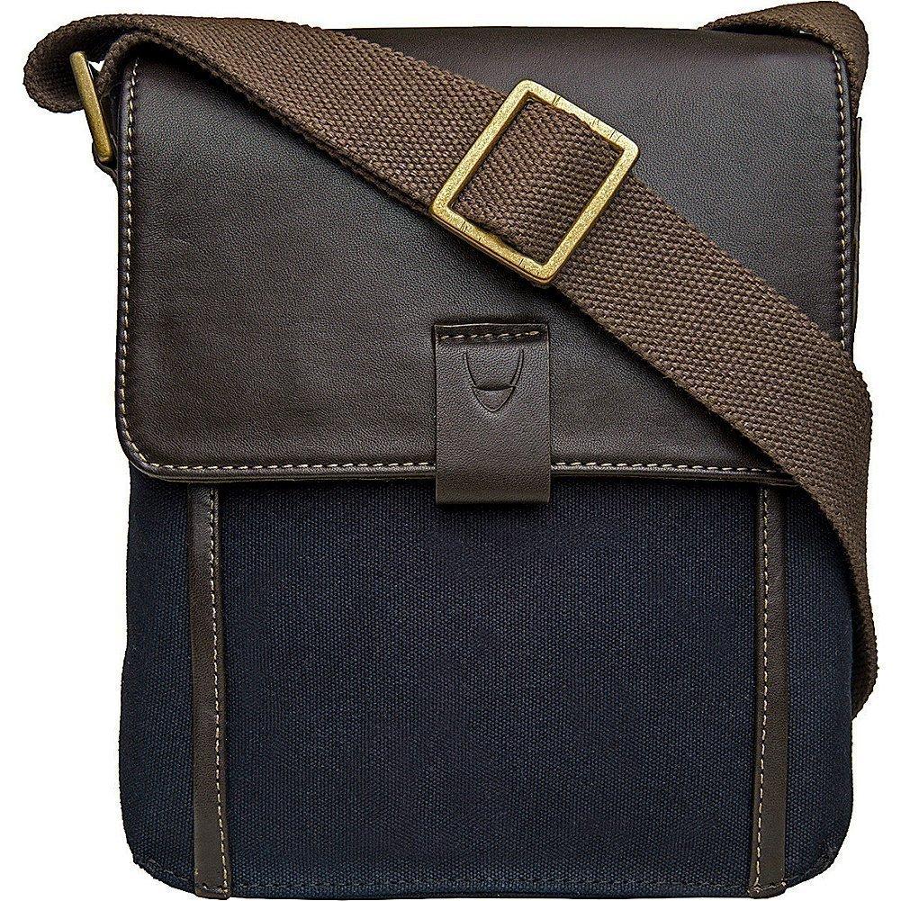 Hidesign Aiden Genuine Leather and Canvas Mini Crossbody Men Women Messenger Bag Travel Bag 10.5 iPad Bag, Blue