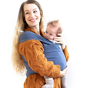 Boba Baby Wrap Carrier - Original Child and Newborn Sling (Vintage Blue)