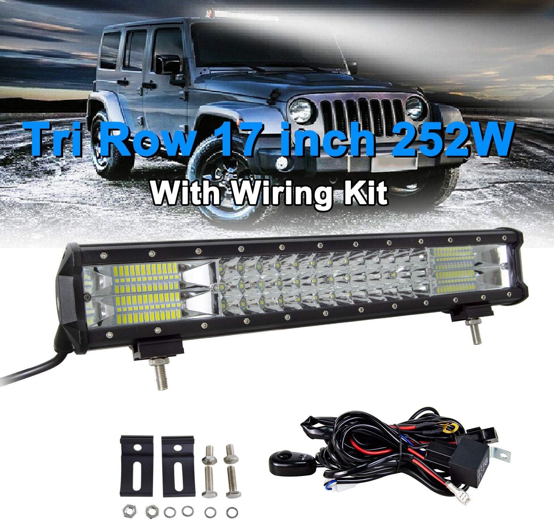 SKYWORLD 15 pouces 38 cm 216W Barre lumineuse LED DV 12V-24V 6000K 3 rang/ée Lumi/ères de remorque de tache dinondation lampe de conduite avec kit de c/âblage pour camion 4x4 auto atv utv