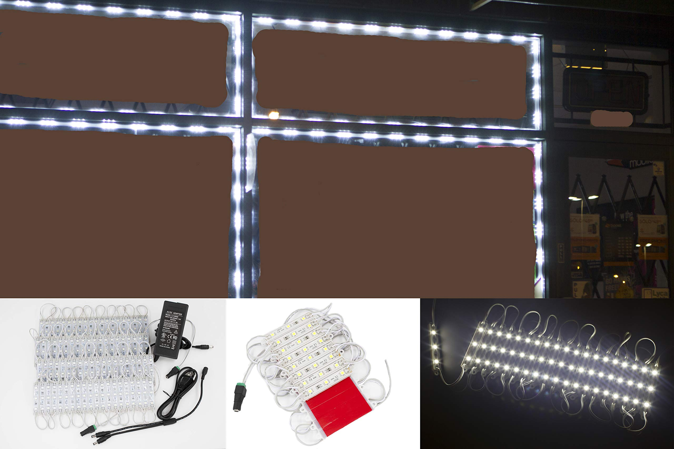 40ft Storefront LED Light 80 pieces White 5050 module with UL 12v AC Power package