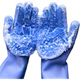 Dish Washing Reusable Brush Heat Resistant Gloves Kitchen Tool for Cleaning Pet Hair Care and More- 1 Pair Petriwin Magic Gloves Dishwashing Scrubbing Gloves With Wash Scrubber Magic Silicone Gloves