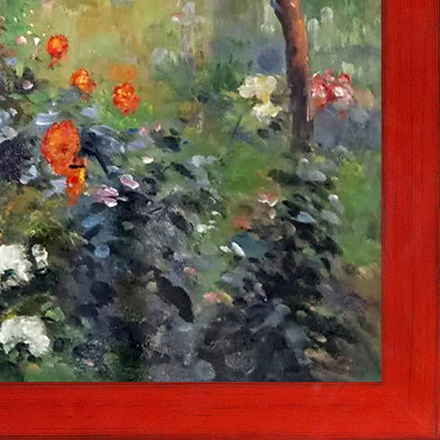 Multi overstockArt RN2722-FR-8388120X24 Garden in The Rue Cortot Montmartre with Stiletto Red Framed Hand Painted Oil Reproduction 20X24