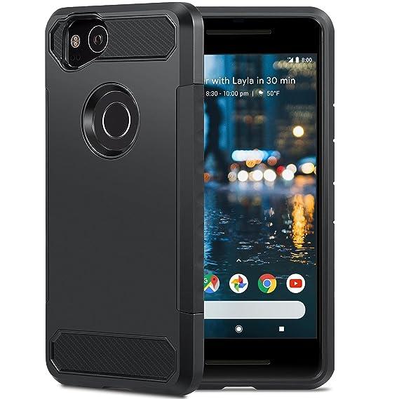 reputable site ffc77 6e734 Google Pixel 2 Case, ATUS Protective Slim Fit Carbon Fiber Accent Case  (Black/Black)