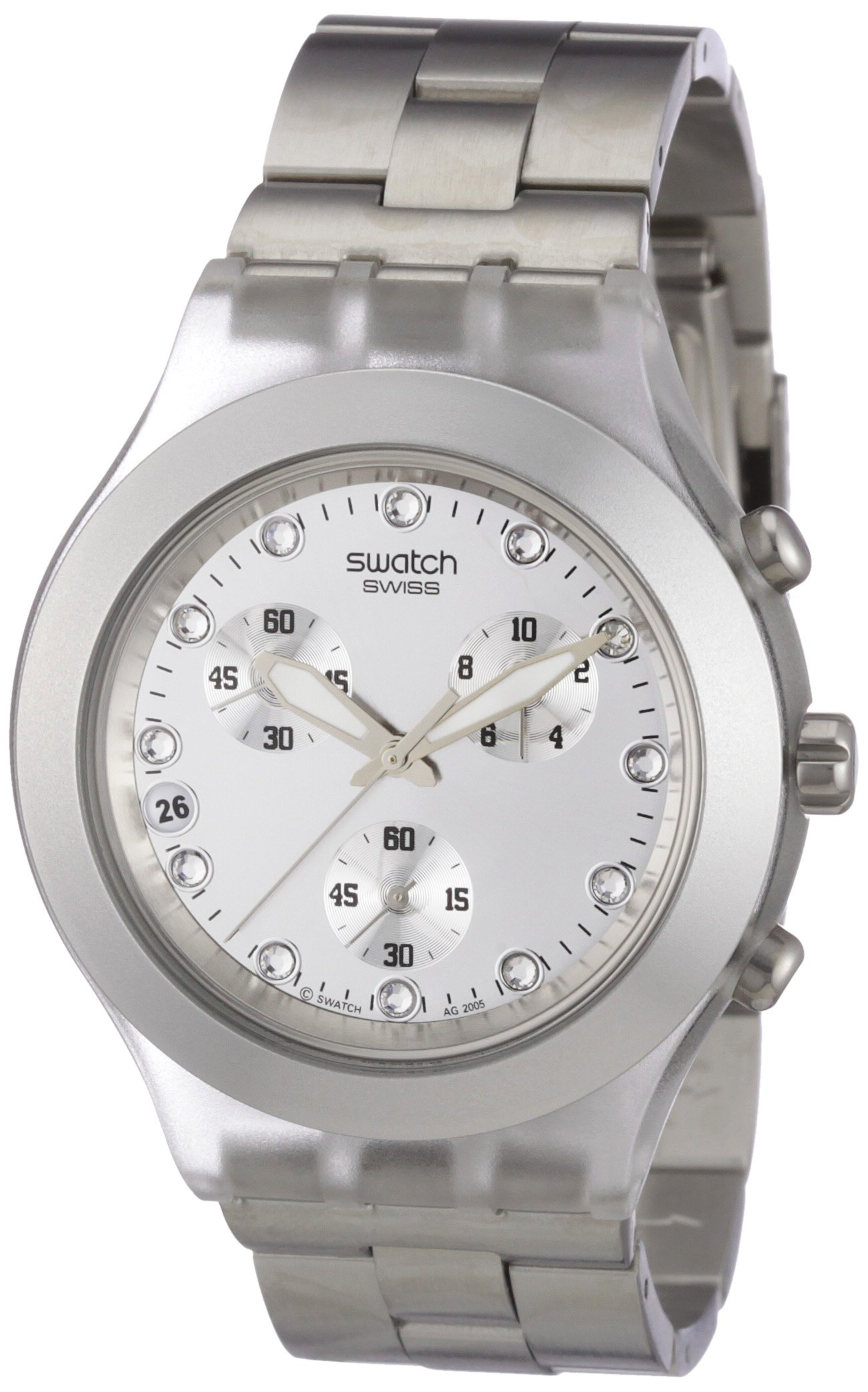 Swatch Diaphane Chronograph Blooded Silver Mens Watch SVCK4038G by Swatch
