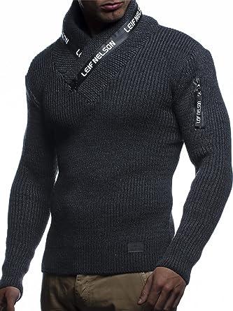 c8133d4e5ca2 LEIF NELSON Herren-Strickpullover   Strick-Pulli mit Schalkragen   Moderner  Woll-Pullover Langarm-Sweatshirt mit Knöpfen  Amazon.de  Bekleidung