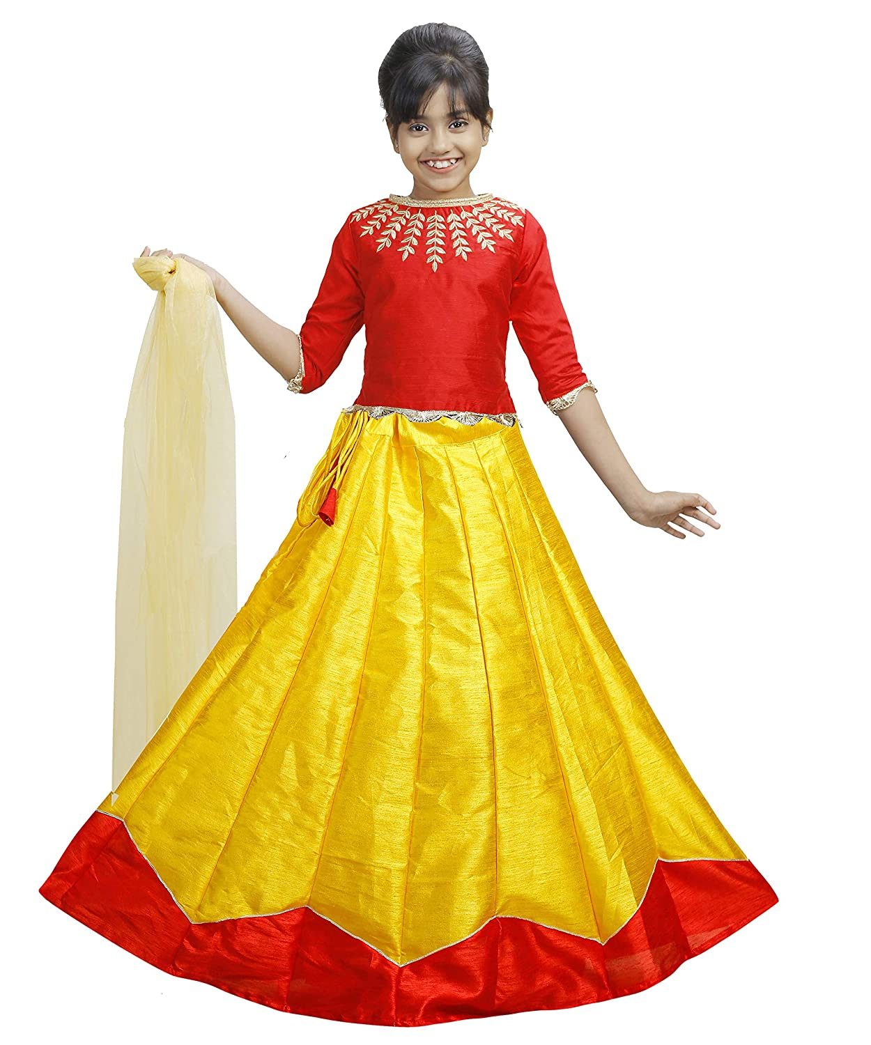 Buy Kids Girls Women Embroidered Crop Top Traditional Ethnic Indian Lehenga Choli Dupatta Set At Amazon In