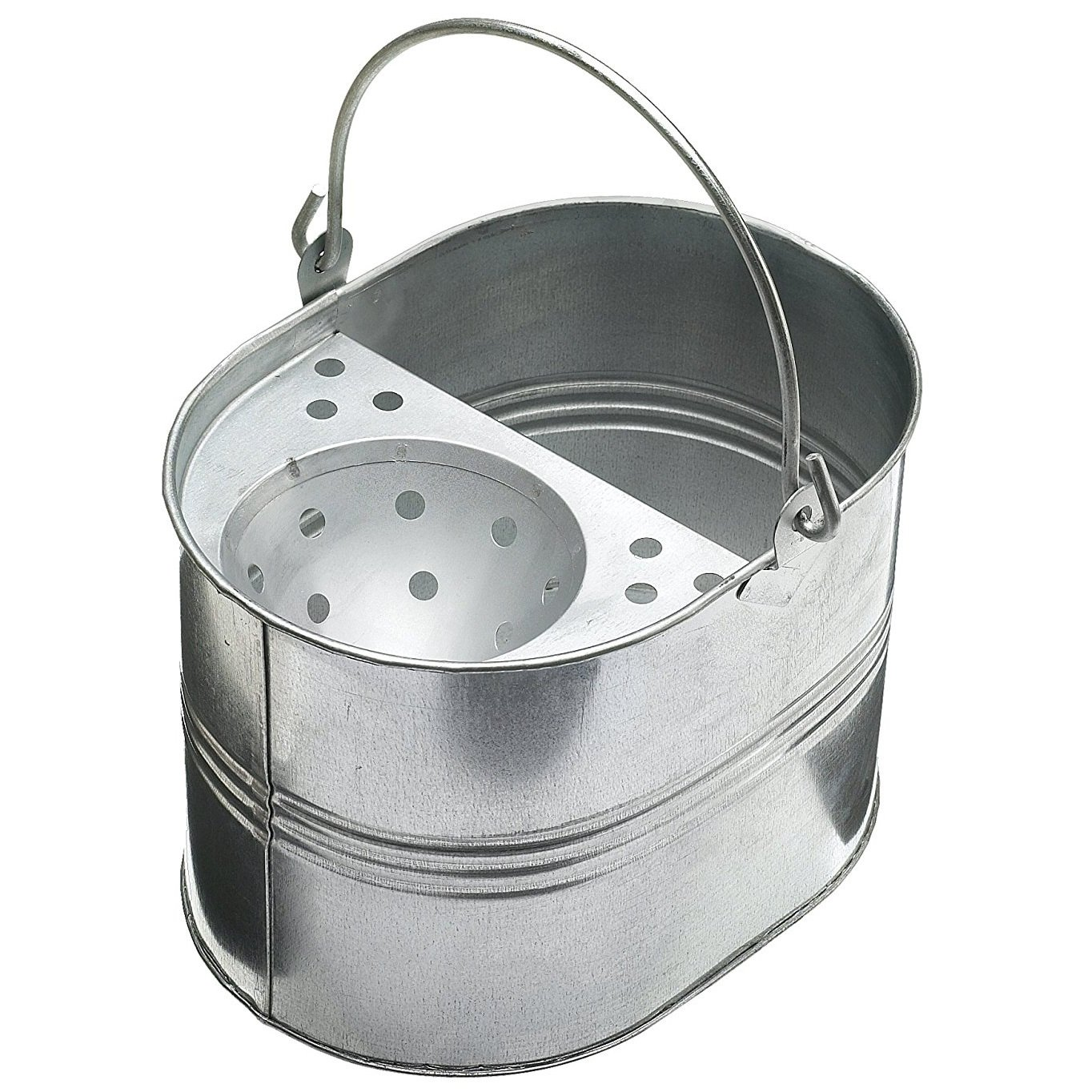 15L 15 Litres Large Galvanised Metal Steel Mop Bucket with Handle for Home Office General Cleaning UK