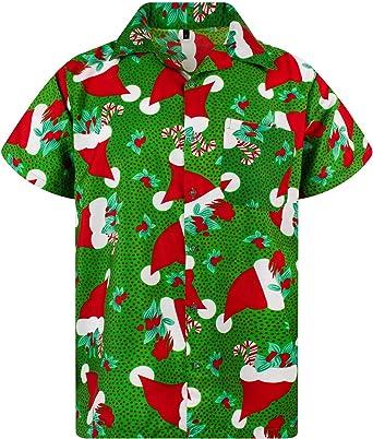 Original King Kameha | Funky Camisa Hawaiana Señores | XS-6XL |Manga Corta Bolsillo Delantero | impresión De Hawaii| Navidad: Amazon.es: Ropa y accesorios