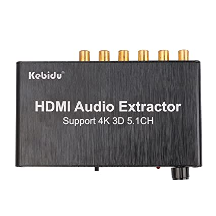KEBIDU HDMI Audio Extractor Separator 5.1CH 4kX2k Decoding Coaxial to RCA AC3/DST to