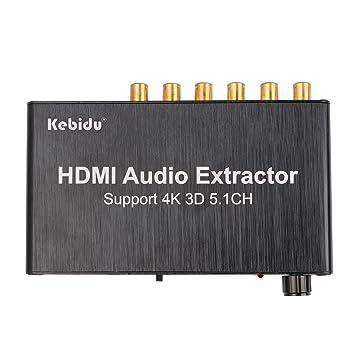 kebidu HDMI Audio Extractor Separador 5.1 CH 4 Kx2 K Decodificación coaxial a RCA amplificador de