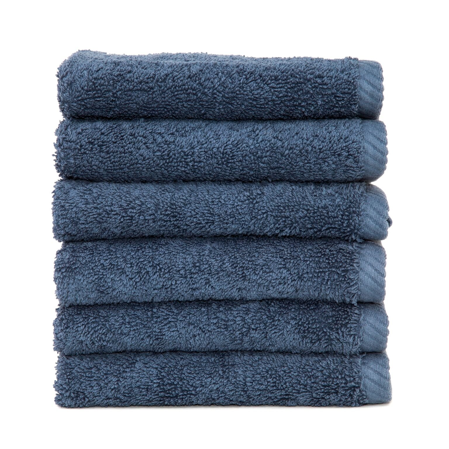 Linum Home Textiles Soft Twist Premium Authentic Soft 100% Turkish Cotton Luxury Hotel Collection Washcloth, Set of 6, Midnight Blue