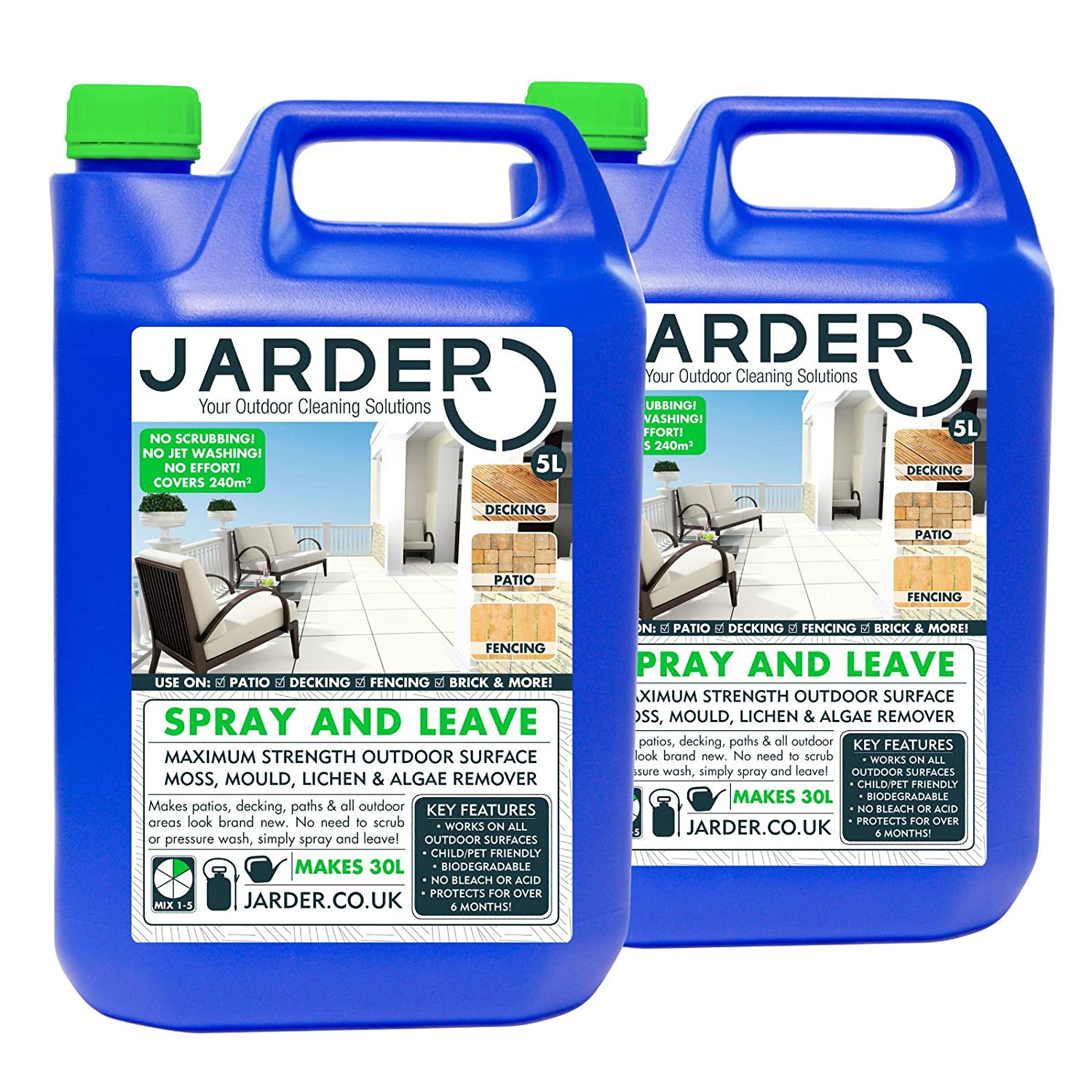 2 x 5 Litre Concentrate Jarder Spray & Leave Cleaner - Patio Fencing Decking - Moss Mould & Algae Killer