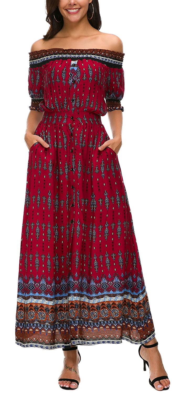 KorMei Damen Sommerkleid Blumen Maxikleid Kurzarm Boho A-Line Lang Kleid Party Strandkleid