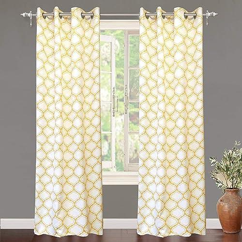 DriftAway Geo Trellis Room Darkening Thermal Insulated Grommet Unlined Window Curtain Drapes Pair