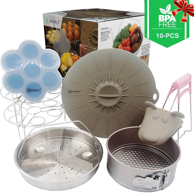 Homlt Instant Pot Accessories Set - 10 Pcs Essential Pack For 5 6 8 10 Qt Pressure Cooker - Steamer Basket, Non-stick Springform Pan, Egg Rack, Silicone Egg Bites Mold, Lid Cover, Mitt, Bowl Gripper
