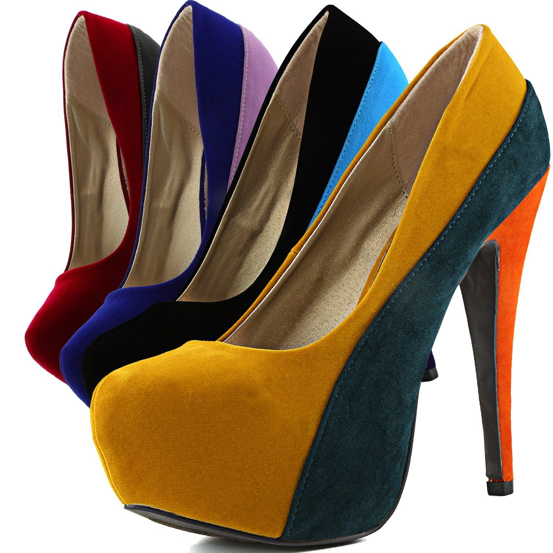Kleidung & Accessoires Mustard Yellow Green Orange Round Toe High Stiletto Heel Platform Pump Qupid
