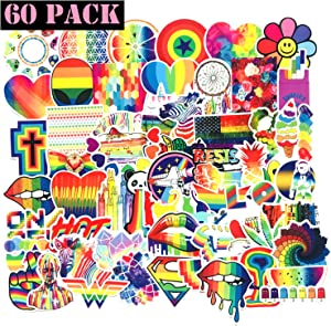Water Bottle Stickers Gay Pride Stickers Bright Technicolor Rainbow Stickers Car Bike Scooter Suitcase Phone Refrigerator Laptop Cup Motorcycle Walls Bedroom Furniture Stickers(Gay Pride) 60PCS