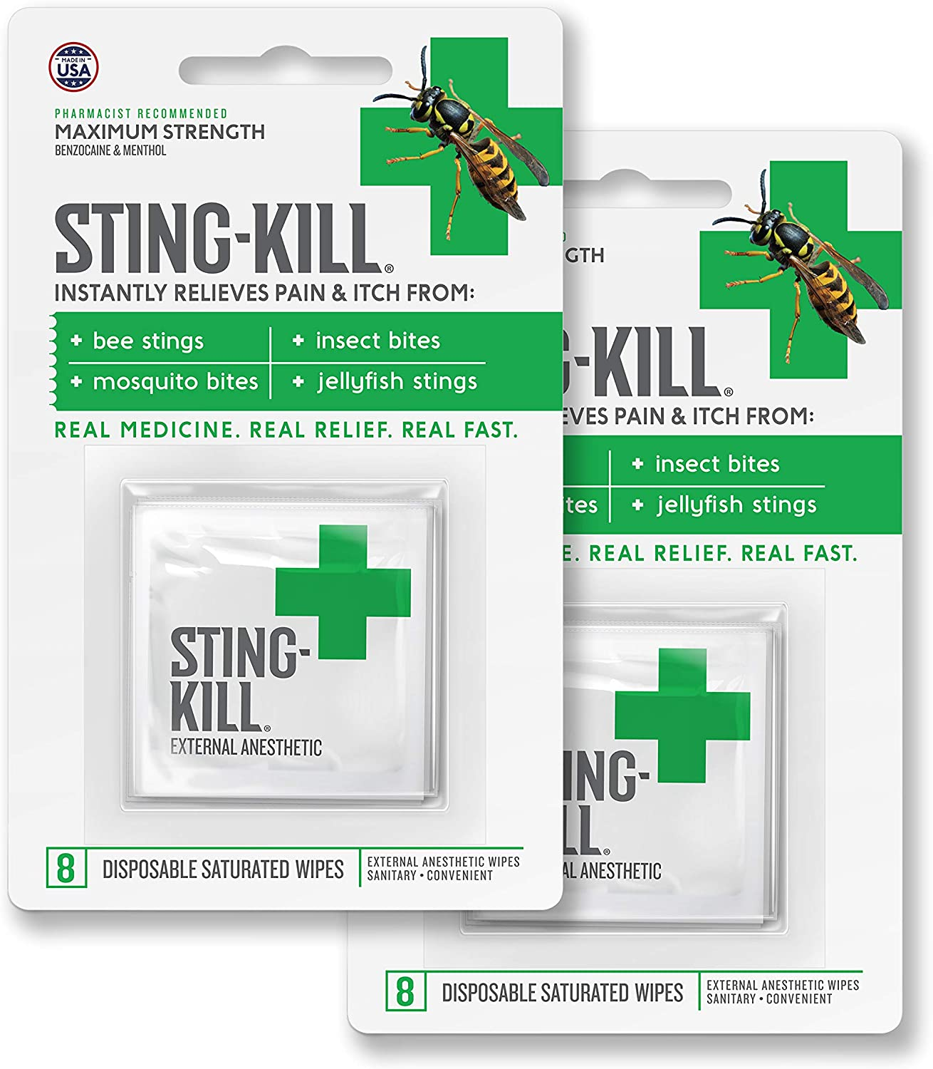 Amazon.com: Sting-Kill First Aid Anesthetic Wipes, Instant Pain + ...