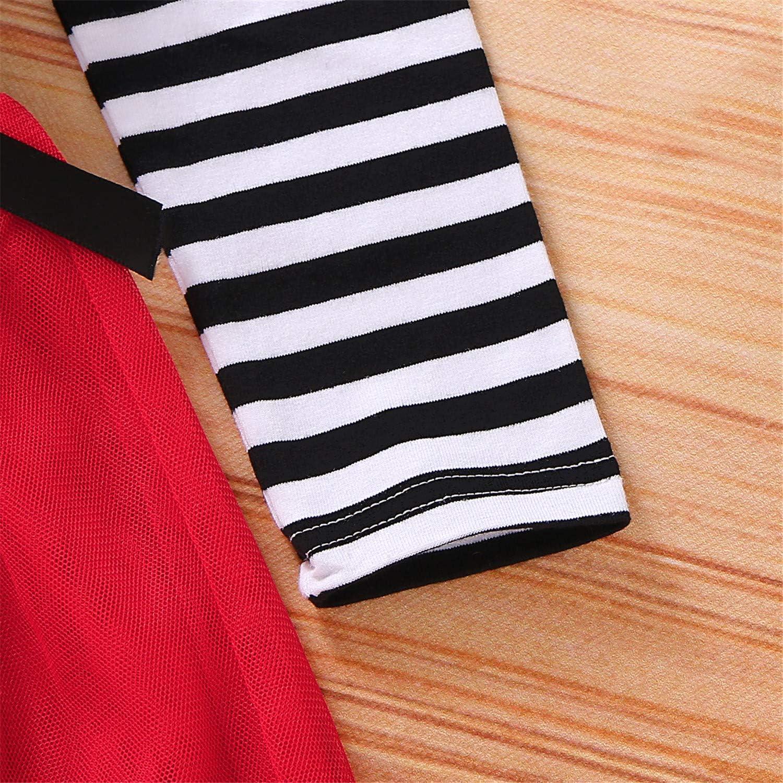 GRNSHTS Toddler Girls Thanksgiving Outfits Baby Little Turkey Striped Long Sleeve Dress Tutu Skirt Playwear with Headband