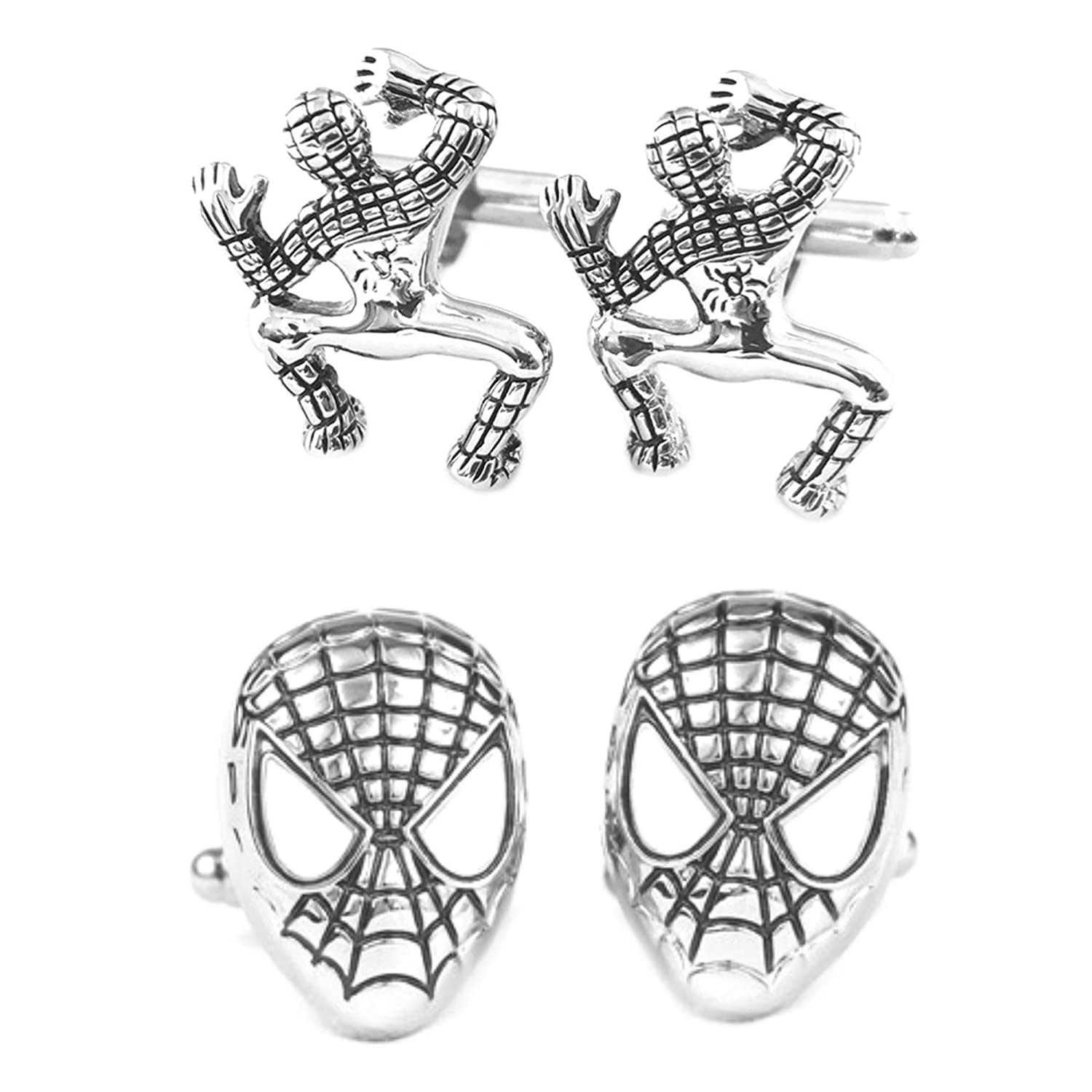 Outlander Gear Marvel Comics 2 Pairs Spiderman Crawling & Spiderman Silver Superhero 2018 Movie Logos - Wedding Groom Groomsmen Mens Boys Cufflinks