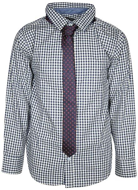 a1b1bcc71fa756 Ben Sherman Boys Long Sleeve Shirt Tie Set, White Plaid, Size 4'