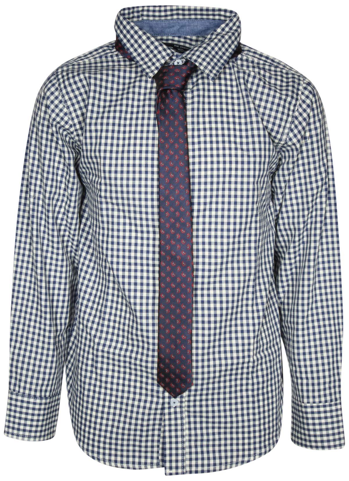 Ben Sherman Boys Long Sleeve Shirt Tie Set, White Plaid, Size 5' by Ben Sherman (Image #1)