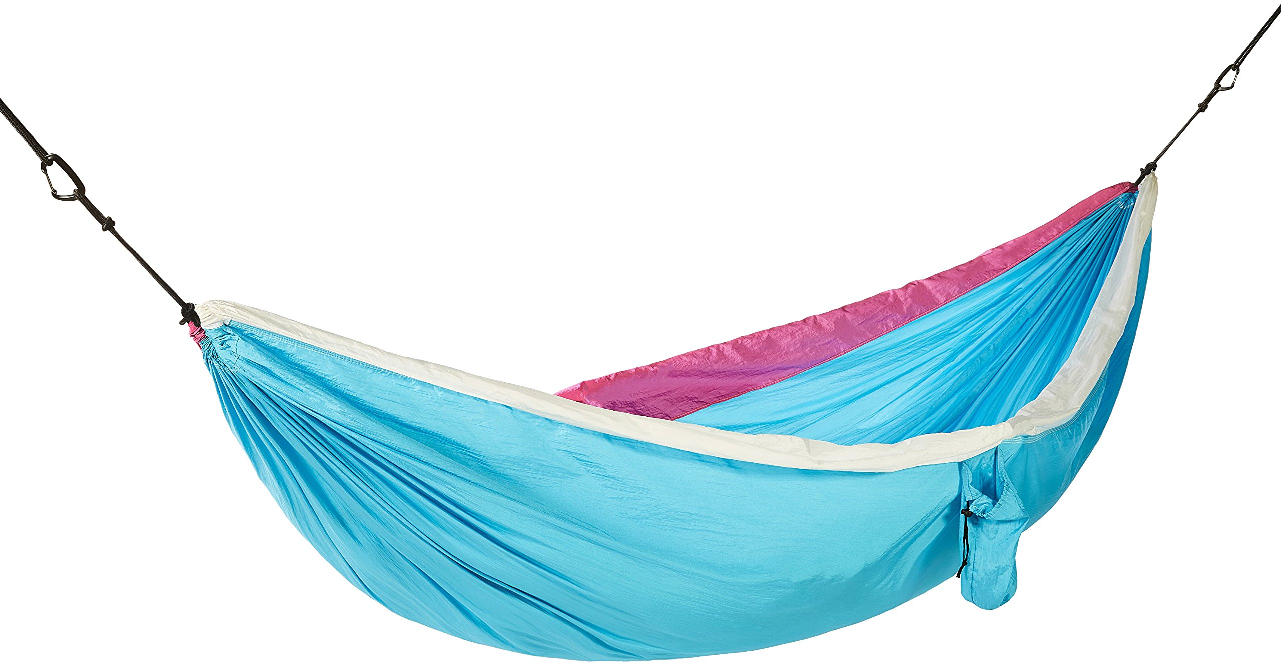 Lightweight Double Camping Hammock With Stuff Sack, Carabiners And Rope - 9 x 7 Feet, Sky Blue And White