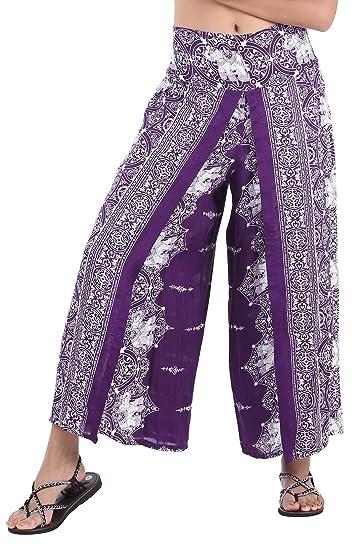 2ad1bbbe68cd2 CandyHusky Women s Elastic Waist Bohemian Hippie Gypsy Harem Palazzo Print  Pants (Elephent 11 Purple)
