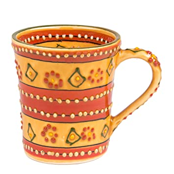 Mexican Themed Coffee Mugs - Hand Painted and Custom Made Traditional  Mexican Pottery - Bright,