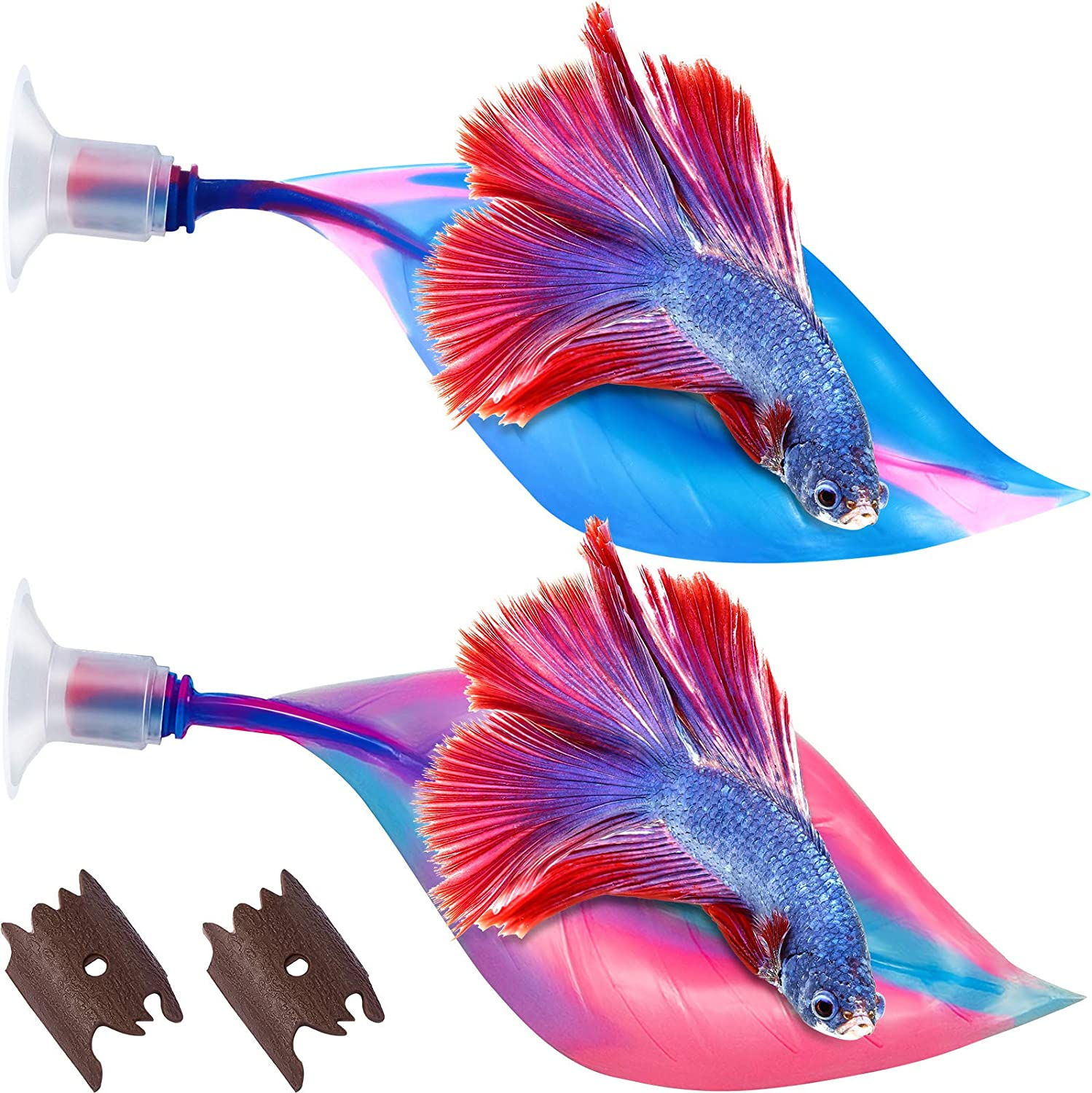 WILLBOND 2 Pieces Silicone Betta Bed Leaf Hammock for Betta Fish, Betta Fish Bed, Practical Resting Spot, No BPA, Comfortable and Safe (Blue, Pink)