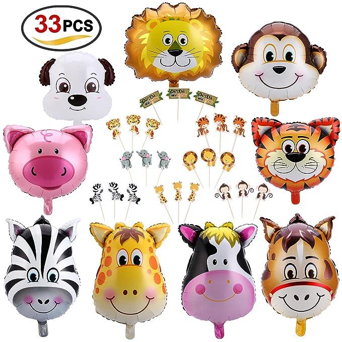 Globos metalizados con forma de animales para cumpleaños de niño.