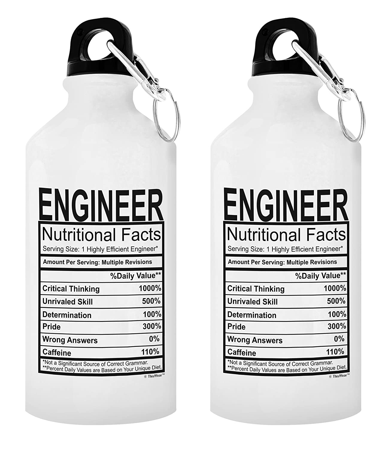 Amazon ThisWear Engineer Gifts For Men Water Bottle Nutritional Facts Best Engineers Gift 20 Oz Aluminum With