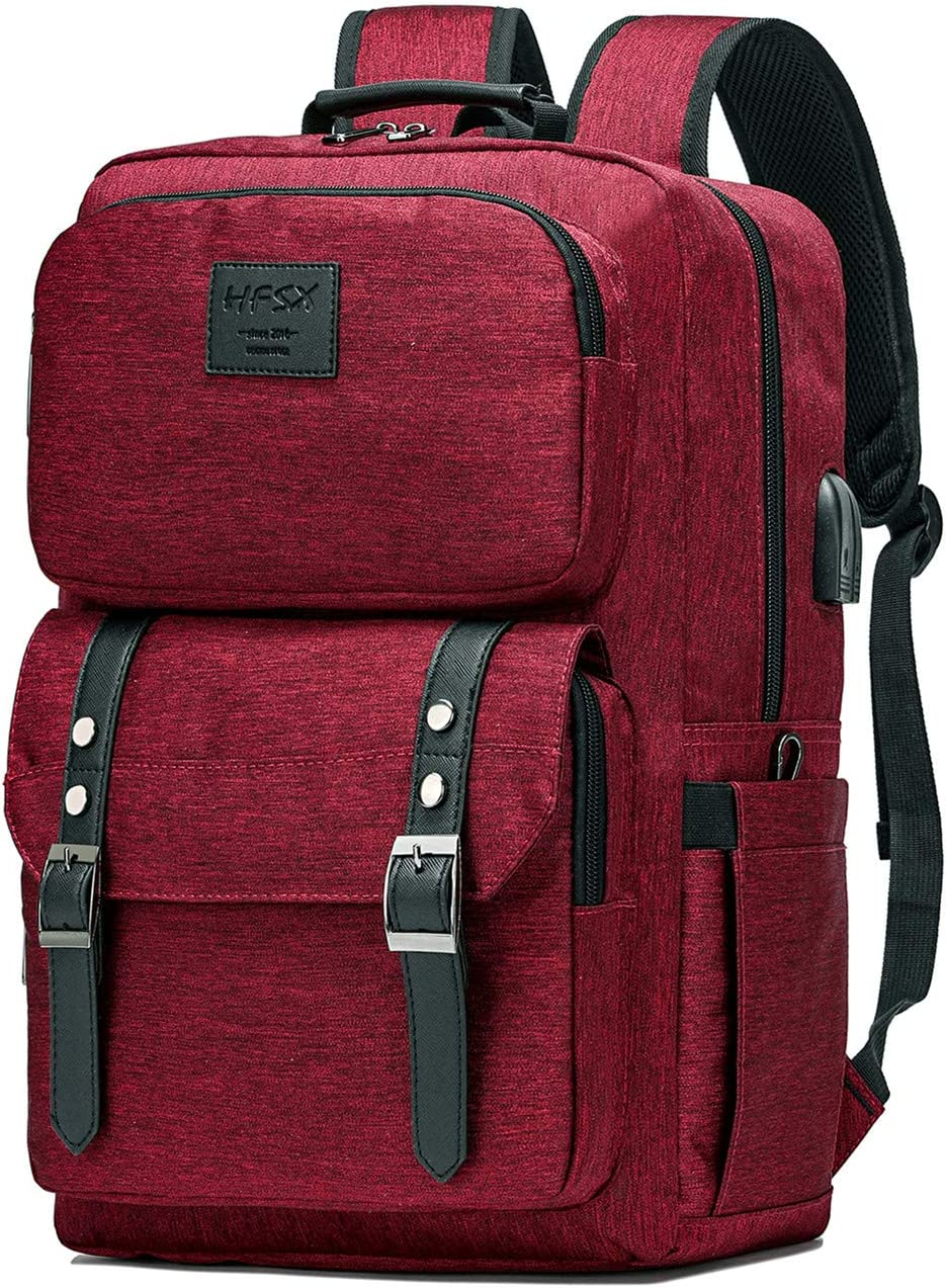 Laptop Backpack Women Men College Backpacks Bookbag Vintage Backpack Book Bag Fashion Back Pack Anti Theft Travel Backpacks with Charging Port fit 15.6 Inch Laptop Red