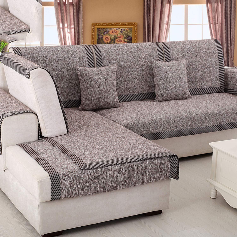 Amazon.com: HANBINGPO Beige Coffee Cotton Blended Sofa Cover ...