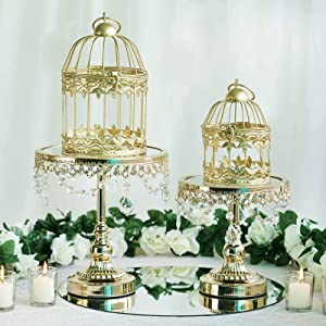 Efavormart 2 Sets of Small Metallic Gold Bird Cage Wedding Centerpiece Table Party Decor All Occasions - 7