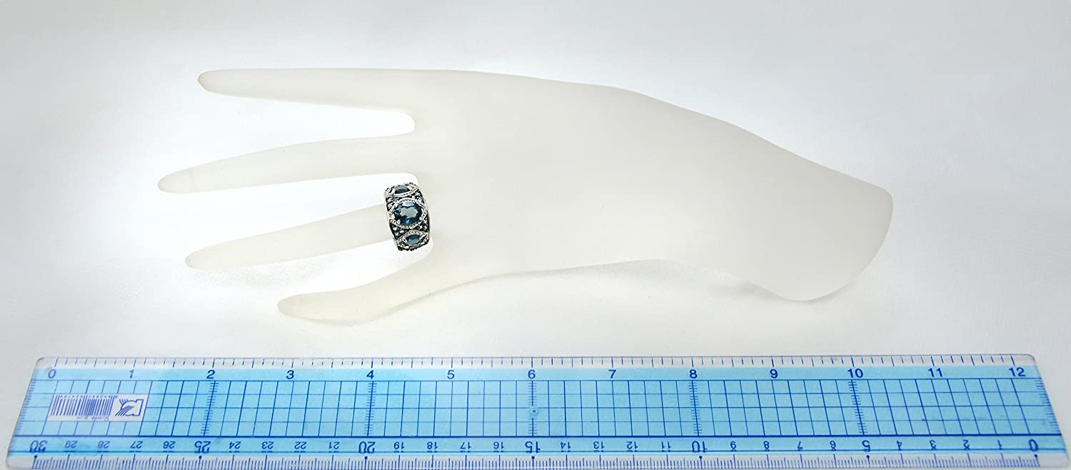 RB Gems Sterling Silver 925 Ring Genuine Gems 5 Carats with Rhodium-Plated Finish 3-Stone-Style