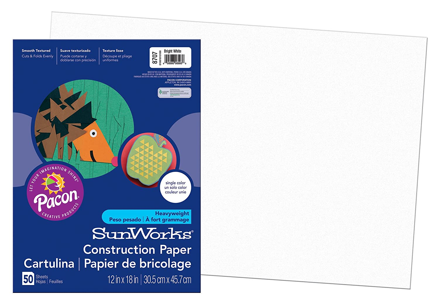 Pacon SunWorks Construction Paper, 12-Inches by 18-Inches, 50-Count, Bright White (8707)