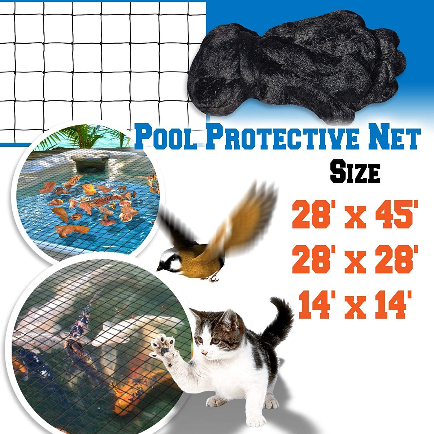 BenefitUSA Pool Idea Protective Net Pond Floating Netting Tub Mesh Cover (28' x28') by BenefitUSA