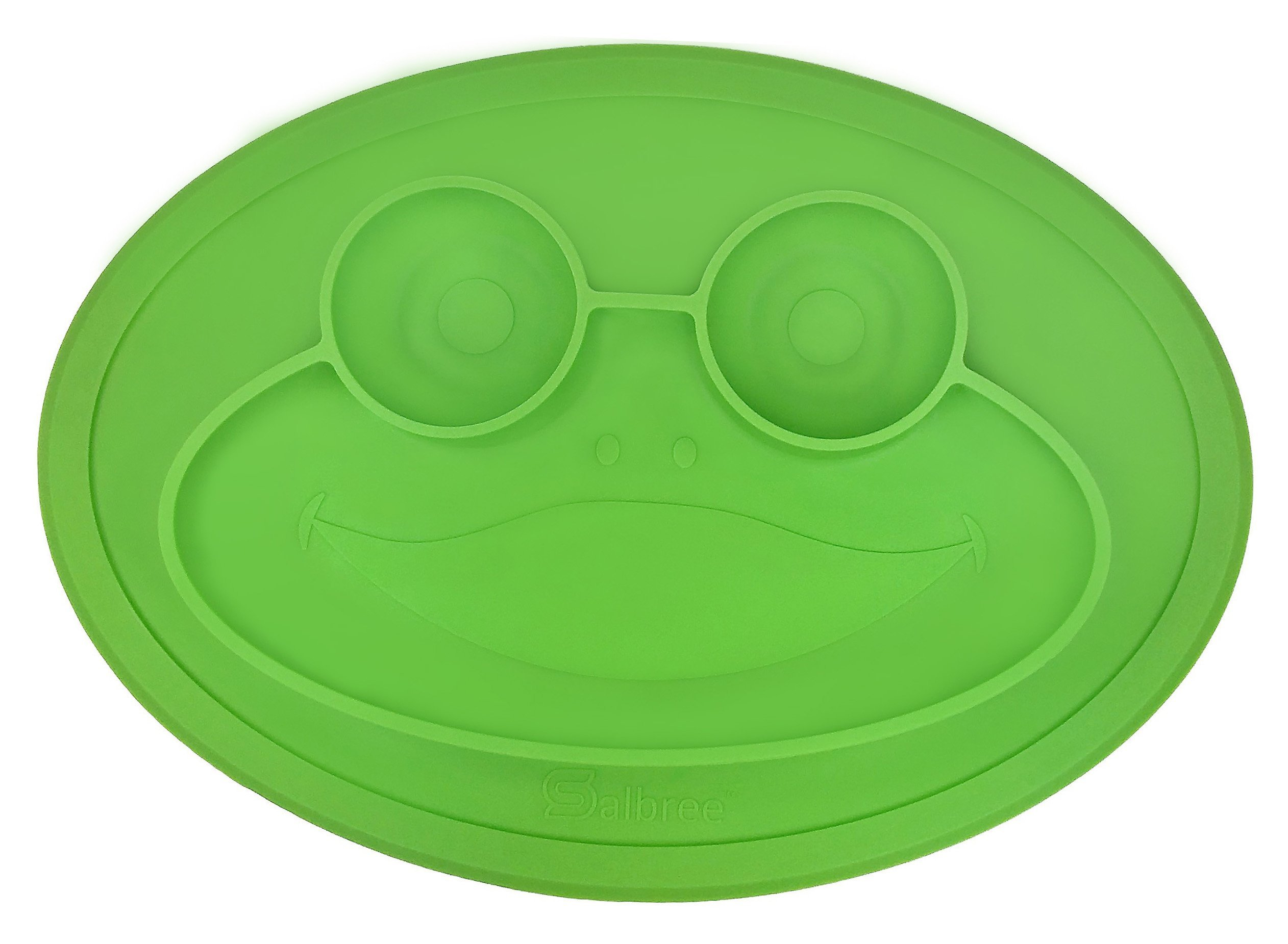 Round Silicone Frog Suction Placemat for Children, Kids, Toddlers, Babies Highchair Feeding Tray or Kitchen Dining Table with Built in Plate and Bowl, Comes with Travel Bag by Salbree, Green
