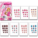 MayQueen 7PACK 84Tips Artificial Junior False Nails, Pre-Glued Sticker Nails For Kids (7 Day Nails)