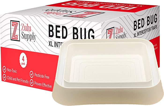 Zulu Supply XL Bed Bug Interceptors, Traps, 4 Pack, White, Extra Large, Bedbug Monitor, Detector for Bed Legs or Furniture