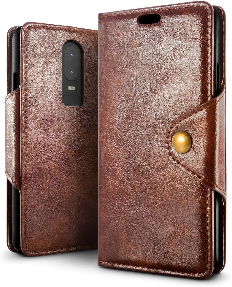 Mulbess Funda para OnePlus 6 Funda Cartera OnePlus 6 Vintage Marr/ón Funda Libro para OnePlus 6 Case Funda Cuero con Tapa
