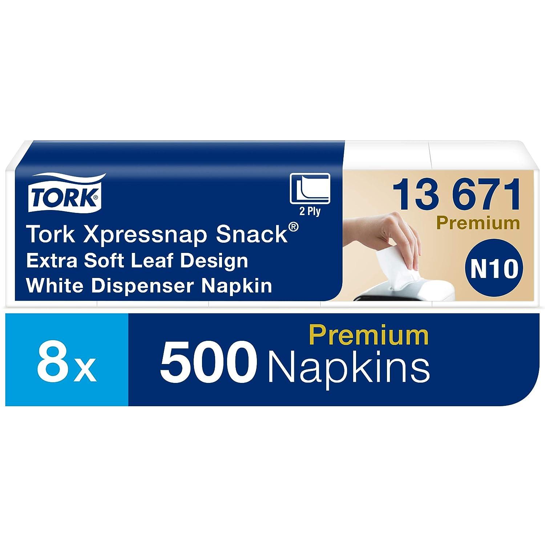 Tork Xpressnap Snack 13671 Servilleta extrasuave Premium 2 capas//Recambios para el sistema N10 servilletero 8 paquetes x 500 servilletas 21,3 cm x 21,6 cm//Blanco con dise/ño de hojas