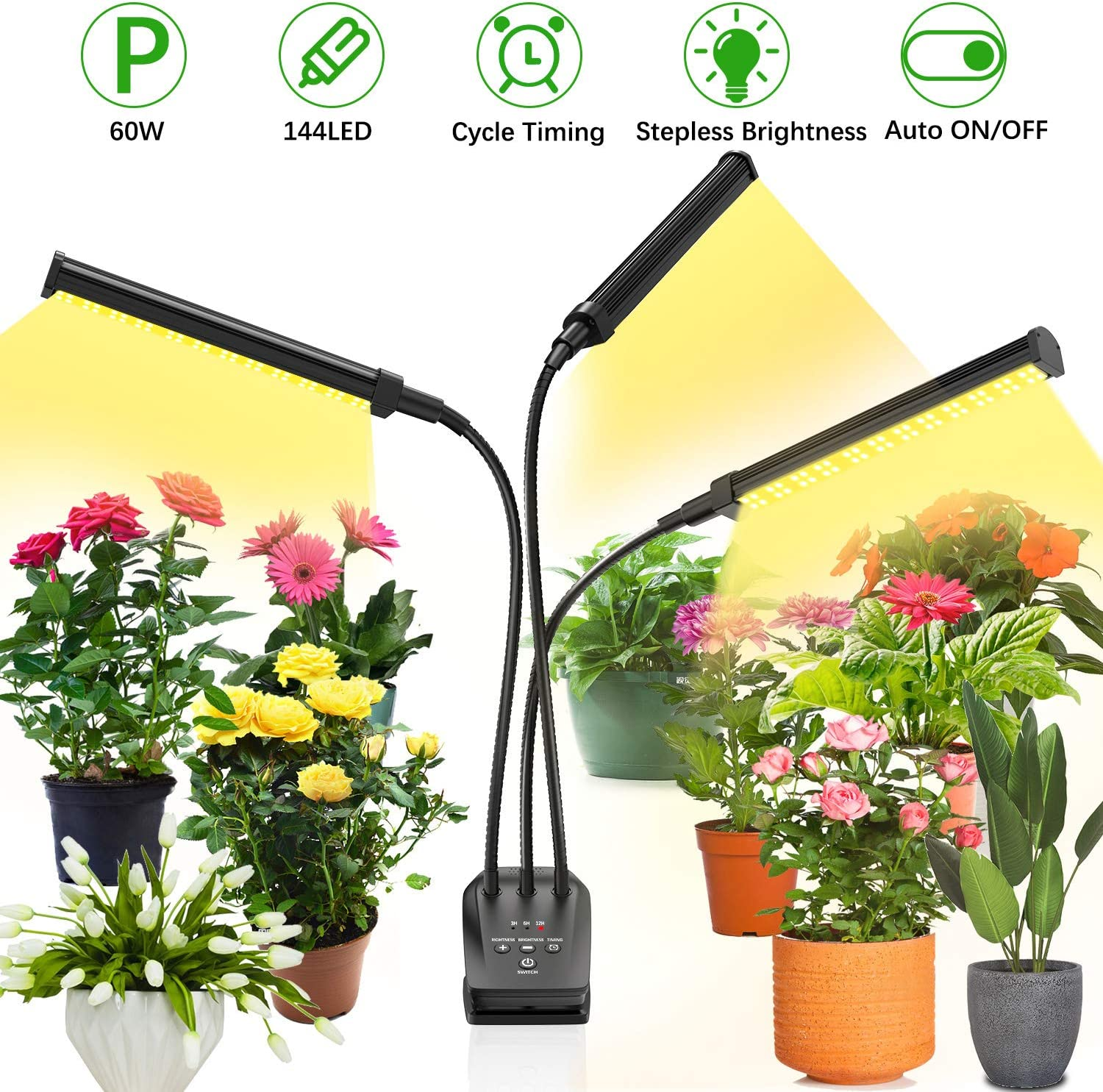 Grow Light for Indoor Plant,BEIEN 60W 144 LED Auto ON Off Timer Full Spectrum Plant Lights 3 6 12H Cycle Timing Stepless Dimmable Brightness 4 Switch Modes,Tri Head Adjustable Gooseneck