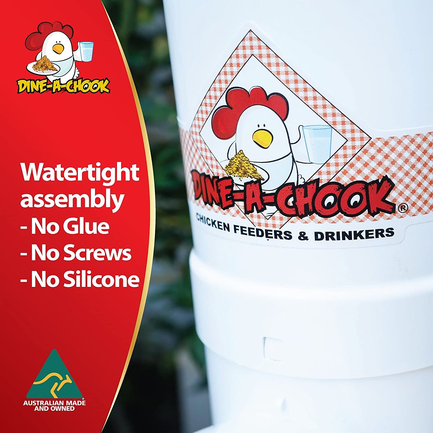 Dine a Chook 3.5 Litre Chicken Feeder and 4 Litre Drinker Kit. Save money on wasted food
