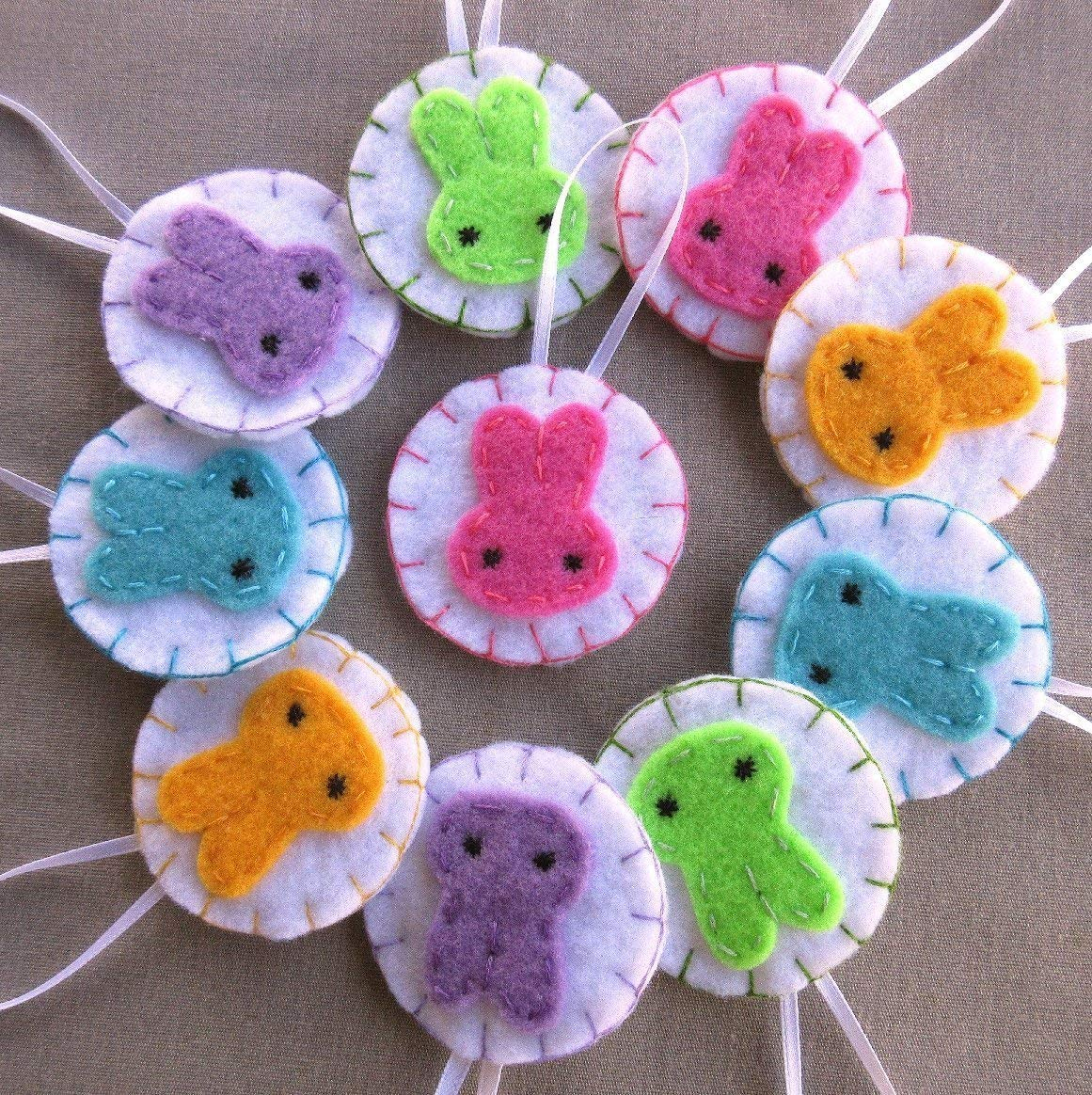 Set of 10 pastel Easter bunny ornaments rainbow baby shower decorations
