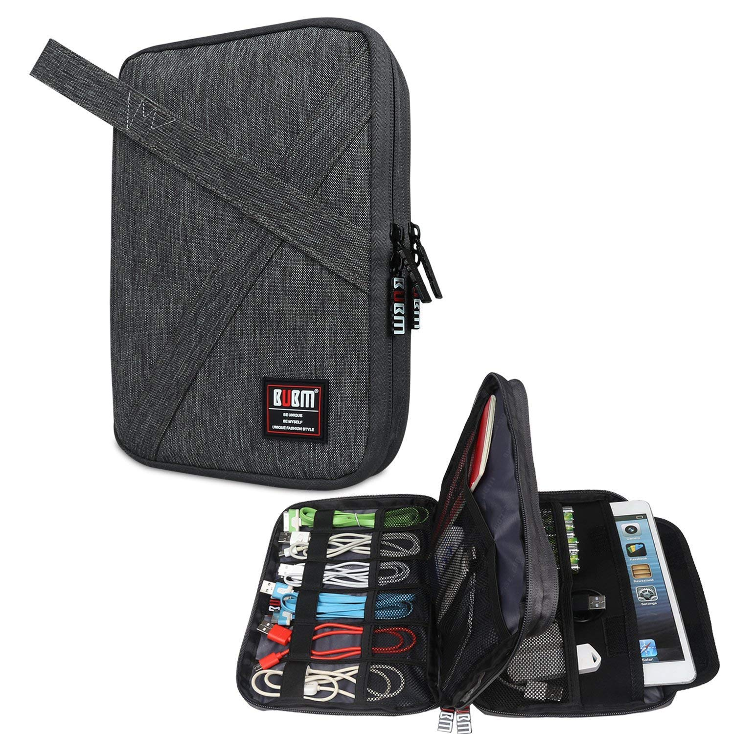 BUBM Travel Cable Organizer, Double Layer Electronic Accessories Bag for Cord, USB Flash Drive, Earphone, Memory Card and More, A Padded Pouch Fits for iPad Mini,Denim Gray